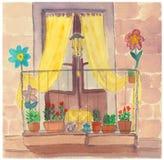 Uitstekende Europese balkontuin met gele gordijnen, bloemen en leuning royalty-vrije stock afbeelding