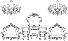 Uitstekende Fabelachtige Keizer Barokke gegraveerd meubilair en toilettafel Vector Franse Luxe rijke ingewikkeld stock illustratie