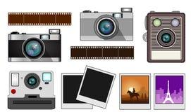 Uitstekende film en momentopnamecamera's stock afbeelding
