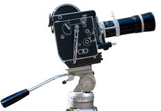 Uitstekende filmcamera, die op wit wordt geïsoleerdj Stock Afbeelding