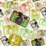 Uitstekende filmcamera, naadloze patroonpastelkleuren Stock Afbeelding