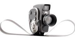 Uitstekende Filmcamera op een wit Stock Afbeelding