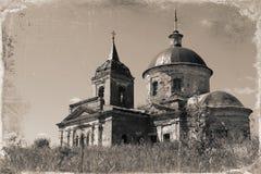 Uitstekende foto oude verlaten Russische Orthodoxe Kerk Royalty-vrije Stock Foto