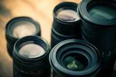 Uitstekende foto van lenzen voor camera Royalty-vrije Stock Afbeeldingen