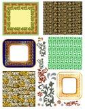 Uitstekende frames en patronen Royalty-vrije Stock Afbeeldingen