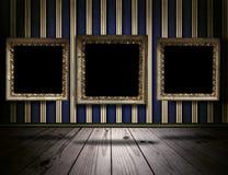 Uitstekende galerijachtergrond met oude victorian kaders Royalty-vrije Stock Afbeelding