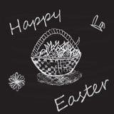 Uitstekende Gelukkige Pasen-kaart met mand, eieren royalty-vrije illustratie