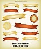 Uitstekende Geplaatste Banners en Linten Royalty-vrije Stock Afbeelding
