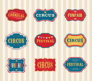 Uitstekende geplaatste Circusetiketten Stock Fotografie