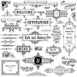 Uitstekende Geplaatste Kaders en Ornamenten Royalty-vrije Stock Afbeelding