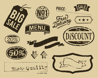 Uitstekende geplaatste verkoop grafische elementen Stock Afbeeldingen