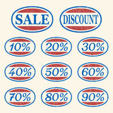 Uitstekende geplaatste verkooppictogrammen Stock Fotografie