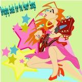 Uitstekende gitaardames Royalty-vrije Stock Afbeelding