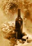 Uitstekende glas en flessenwijn Royalty-vrije Stock Foto's