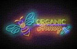 Uitstekende Gloedaffiche met Bij en Organisch Honey Inscription Neon het Van letters voorzien Malplaatje voor Vlieger, Banner, Re vector illustratie