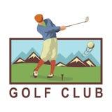 Uitstekende golfaffiche met een golfspeler vector illustratie