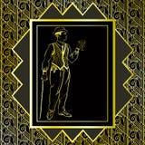 Uitstekende gouden achtergrond Retro ontwerp van de partijuitnodiging jaren '20 Stock Afbeelding