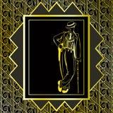 Uitstekende gouden achtergrond Retro ontwerp van de partijuitnodiging jaren '20 Royalty-vrije Stock Foto's