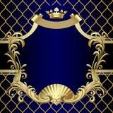 Uitstekende gouden banner met een kroon op donkerblauwe barokke achtergrond Royalty-vrije Stock Foto's