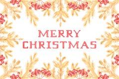 Uitstekende gouden huwt Kerstkaart met pijnboomtakken en lijsterbes stock illustratie