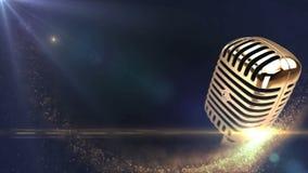 Uitstekende gouden microfoon stock video