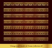 Uitstekende Gouden Vectorinzameling 69 van het Grenskader Stock Afbeeldingen