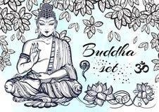 Uitstekende grafische Boedha plaatste met boeddhistische heilige elementen Godsdienstig Concept Hoog - geïsoleerde kwaliteits vec Stock Foto's