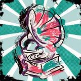 Uitstekende Grammofoon Hand getrokken grunge kunststijl Retro vectorillustratie Royalty-vrije Stock Fotografie