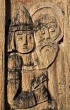 Uitstekende gravure op een hout Royalty-vrije Stock Foto's