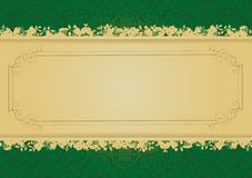 Uitstekende Groene en Gouden decoratieve bannervector royalty-vrije illustratie