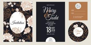 Uitstekende groet en uitnodigingenkaart met geplaatste bloemenpioenen stock illustratie