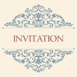 Uitstekende groetkaart, uitnodiging met bloemenornamenten Royalty-vrije Stock Foto's