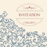 Uitstekende groetkaart, uitnodiging met bloemenornamenten Royalty-vrije Stock Afbeelding