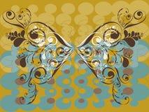 Uitstekende grunge bruine vlinder Stock Afbeelding