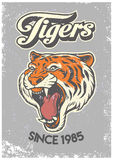 Uitstekende grungestijl van universiteitsaffiche van tijgerhoofd vector illustratie