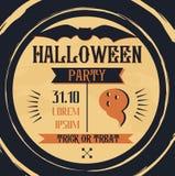 Uitstekende Halloween-affiche met met de knuppel Royalty-vrije Stock Fotografie