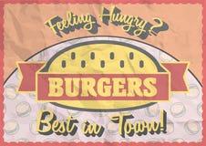 Uitstekende hamburgeraffiche, brochure Royalty-vrije Stock Fotografie