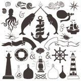 Uitstekende hand getrokken elementen in zeevaartstijl royalty-vrije illustratie