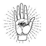 Uitstekende Handen met allen die oog zien Hand getrokken schetsmatige illustrati stock illustratie