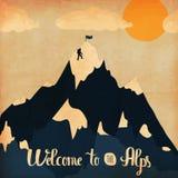 Uitstekende handlettering affiche op het thema van de wintertoerisme Het onthaal van landschapsbergen aan de Alpen Vector vector illustratie