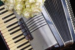 Uitstekende harmonika en een boeket van witte rozen royalty-vrije stock foto's
