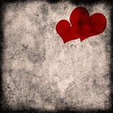 Uitstekende harten op het grungedocument Stock Foto