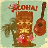 Uitstekende Hawaiiaanse prentbriefkaar Stock Afbeelding