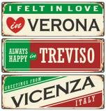 Uitstekende herinneringen of prentbriefkaarmalplaatjes met plaatsen in Italië Stock Fotografie