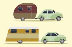 Uitstekende het kamperen auto's Royalty-vrije Stock Afbeeldingen