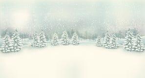 Uitstekende het landschapsachtergrond van de Kerstmiswinter Royalty-vrije Stock Afbeeldingen