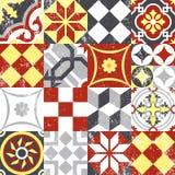 Uitstekende het mozaïektegel van het lapwerk naadloze patroon Stock Fotografie