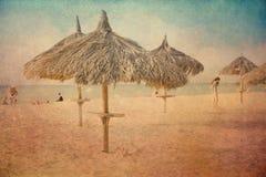 Uitstekende het Strandparaplu van het textuurgras Stock Afbeelding