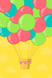 Uitstekende hete luchtballon in de hemel Stock Foto