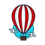 Uitstekende hete luchtballon Moderne vector Stock Afbeelding